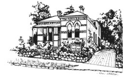 Pencil sketch of Usui Reiki House in Melbourne Australia